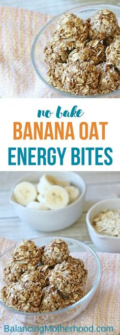 These no-bake banana oat bites are the perfect after-school snack. They're packed with energy to keep the kids (and adults!) satisfied. They're made with all natural sugars so you don't have to worry about refined sugar. #energybites #bananaoatmealbites #nobake
