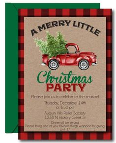 Red Truck Christmas Invitations from CustomCandyBarWrapper com features a buffalo plaid background, kraft paper styling to complete this rustic Christmas design. Christmas Design, Rustic Christmas, Christmas Party Invitations, Christmas Decorations, Christmas Ideas, Xmas, White Envelopes, Holiday Parties, Party Planning