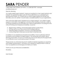 Legal Assistant Cover Letter Always Use A Convincing Covering Letter With  Your CV When Applying For