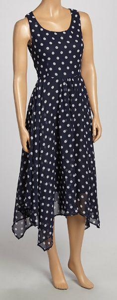 Navy & White Dot Handkerchief Dress