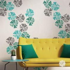 Colorful Wall Art Stencils to Decorate a Modern Room - Royal Design Studio