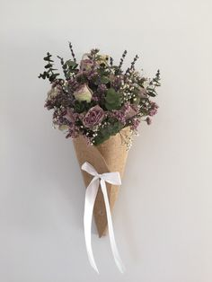 dried flower arrangement cone with eucalyptus, roses, lavender and limonium by FlowersFromTheVale on Etsy