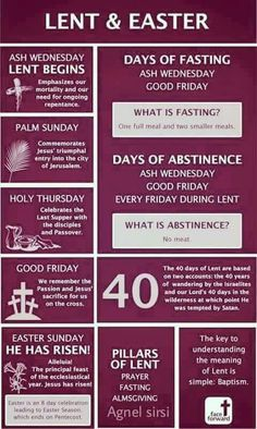 Lent and Easter Infographic Catholic Faith Catholic Lent, Catholic Prayers, Roman Catholic, Catholic Easter, Lent Prayers, Catholic Answers, Catholic Memes, Everyday Prayers, Holy Thursday Catholic