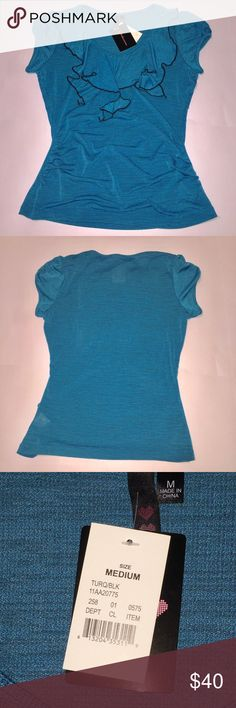 NWT Turquoise ruffled V-neck Medium blouse Brand new with tags. Almost has a woven feel to the fabric. Bunching at the waist. Very dressy! Unsure of the brand, so I took pictures of the tags. Tops Blouses