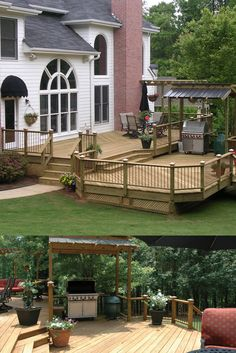 Pressure-treated deck with barbecue overhang designed and built by Atlanta Decking. Decking Fence, Bbq Shed, Patio Deck Designs, Outdoor Projects, Outdoor Decor, Fencing Companies, Decking Material, Barbecue, Atlanta