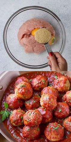 ITALIAN BAKED TURKEY MEATBALLS Need a little change from your regular meatballs? Try this Gluten-free and dairy-free Italian Turkey Meatballs recipe. We have no doubt that you will love it! Pair them with some quinoa or some whole wheat spaghetti. Healthy Dinner Recipes, Mexican Food Recipes, Cooking Recipes, Easy Healthy Dinners, Dairy Free Italian Recipes, Food Dinners, Italian Turkey Meatballs, Recipe For Turkey Meatballs, Meatballs Recipe Video