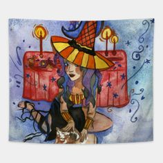 Tapestries by fairychamber Wall Tapestries, Tapestry, Whimsical Art, Disney Characters, Fictional Characters, Illustration Art, Halloween, Tapestries, Wall Hangings