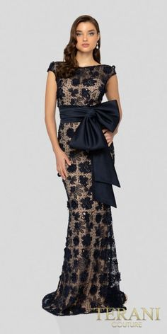 3ab12bc0865b Cap Sleeve Scoop Back Floral Lace Fitted Evening Dress by Terani Couture