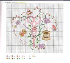0 point de croix grille et couleurs de fils ciseau vichy rose et couture et gateaux