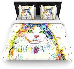 "Rebecca Fischer ""Royal"" Rainbow Cat Cotton Duvet Cover (Twin, 68"" x 88"") contemporary-duvet-covers-and-duvet-sets"