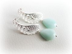 Silver angel wing earrings amazonite gemstone by MalinaCapricciosa