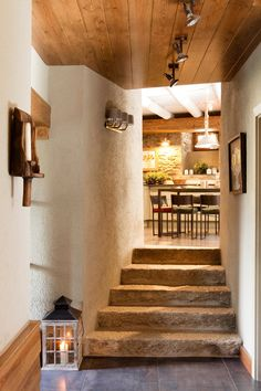Indoor stone steps in Santa Fe style house. Stair Decor, Adobe House, French Country House, European House, Rustic Interiors, Cozy House, Modern Rustic, My Dream Home, Interior Architecture