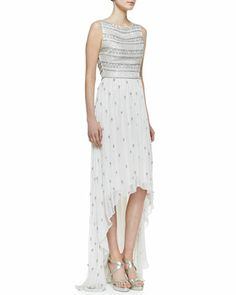 Gore Beaded Silk High-Low Gown by Alice + Olivia at Neiman Marcus.