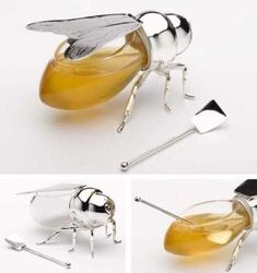 To Sweeten Up Your Table- Beautiful Bee Honey Jar … To Sweeten Up Your Table Possibly the cutest honey holder EVER. Thought Kim would love this, not sure what for at the shower, but still, she will love this. Cool Kitchen Gadgets, Kitchen Items, Cool Gadgets, Cool Kitchens, Kitchen Tools, Unique Gadgets, Baby Gadgets, Tech Gadgets, Kitchen Hacks