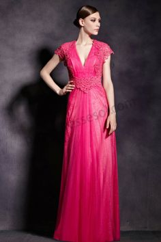 Red V-Neck Embriodery A-Line Long Prom Dress BY911