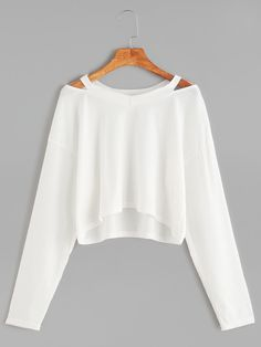 Shop White Cut Out Neck Crop T-shirt online. SheIn offers White Cut Out Neck Cro - French Shirt - Ideas of French Shirt - Shop White Cut Out Neck Crop T-shirt online. SheIn offers White Cut Out Neck Crop T-shirt & more to fit your fashionable needs. Girls Fashion Clothes, Teen Fashion Outfits, Outfits For Teens, Fall Outfits, Girl Fashion, Summer Outfits, Fashion Black, Fashion Ideas, Ootd Fashion