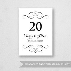 13 best wedding table number templates images on pinterest number