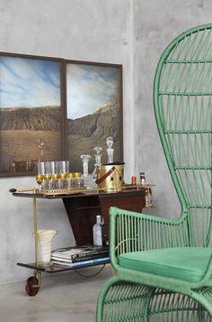 retro bar cart & peacock chair