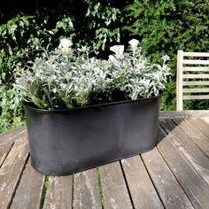 Pot de fleurs ovale en zinc charbon (2 tailles) decoclico Jardin : Decoclico