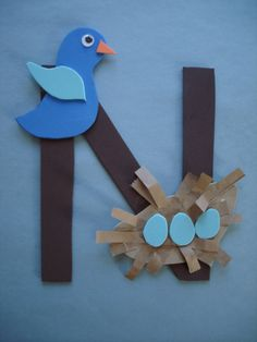 letter n crafts for preschoolers learning the alphabet - N for nest Letter E Art, Preschool Letter Crafts, Alphabet Letter Crafts, Abc Crafts, Preschool Projects, Daycare Crafts, Alphabet Activities, Toddler Crafts, Preschool Activities