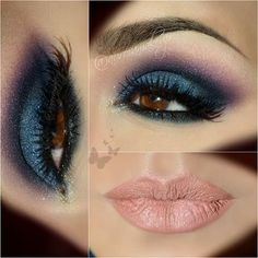 like the navy/purple with the pale pink lip  but I think the black eyebrow is part of what makes it work too