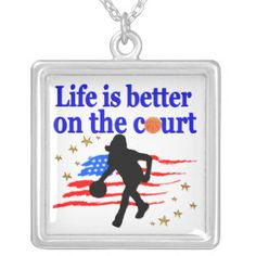 LIFE IS BETTER ON THE COURT USA DESIGN SQUARE PENDANT NECKLACE Awesome Basketball designs to inspire your awesome Basketball star. http://www.zazzle.com/mysportsstar/gifts?cg=196154001483607986&rf=238246180177746410 #Girlsbasketball #Basketballplayer #Hoopdreams