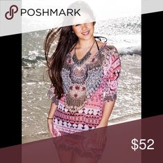 Mid length Pink Tunic Beautiful embellished tunic! You can match it with your favorite swimsuit, or just wear as a top with jeans, shorts or leggings 😎 Tops Tunics