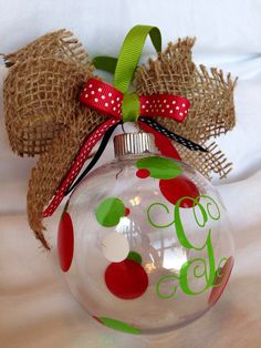 Monogrammed Christmas Ornament by iDesignDecals on Etsy, $8.00