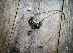 Micro Macrame collar elfos hoja colgante en cadena bronce