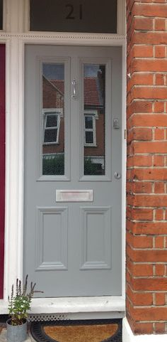 Non-front door color - Farrow and Ball 'Manor House Grey' - must get this for my Manor House flat! Victorian Front Doors, Grey Front Doors, Painted Front Doors, Front Door Colors, Farrow And Ball Front Door Colours, Blue Doors, Up House, House Front, Exterior Paint