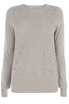 Lace Front Top   Natural   Oasis Stores Grey + Lace