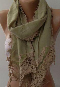 Khaki  Elegance Shawl / Scarf with Lace Edge by womann on Etsy, $19.90