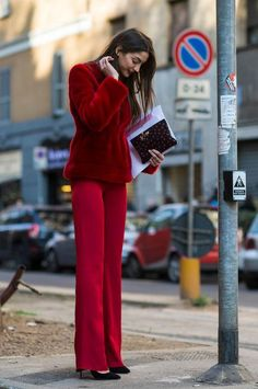 Street style: a bold red suit