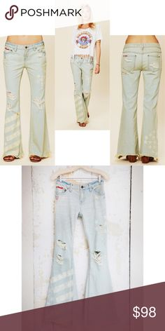 Free people American flag super flare jeans 25 Worn 3 times in great condition, ❌NO TRADE‼️ Free People Jeans Flare & Wide Leg