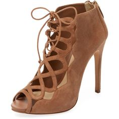 Alexandre Birman Women's Lace-Up Suede Sandal - Cream/Tan - Size 10 ($299) ❤ liked on Polyvore featuring shoes, sandals, tan sandals, lace up high heel sandals, tan high heel sandals, cream sandals and suede sandals