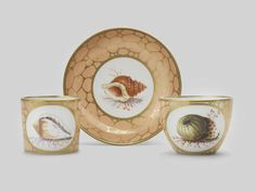 An important Coalport teacup, coffee cup and saucer painted in Bristol by Thomas Pardoe, circa 1815