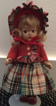 FABULOUS VOGUE GINNY TODDLES DOLL (1945-49) IN TAGGED RED PLAID OUTFIT (1940s)