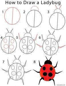 Insectos de primavera, juego y creatividad para niños | Ludicobox Drawing Lessons For Kids, Easy Drawings For Kids, Art Lessons, Art For Kids, Doodle Drawings, Doodle Art, Animal Drawings, Drawing Animals, Step By Step Drawing