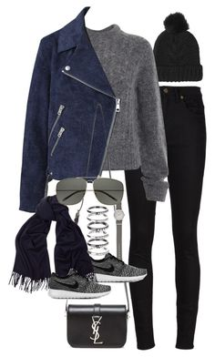 """Inspired outfit for a casual day with friends"" by pagesbyhayley ❤ liked on Polyvore featuring moda, Yves Saint Laurent, Topshop, Acne Studios, J.Crew, NIKE y M.N.G"