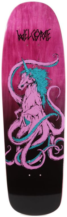 This is sort of an unexpected chimera-type creature mash-up. It's like a unicorn heptopus. There's a lot of movement happening with the tentacles and good variation in how they undulate. The strokes the artist rendered here seem very hesitant compared to the crisp and solid lines we typically see in skateboard art.