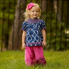 Outfit for Sadie's 3 month pics...can't wait. Baby Girls Navy Lattice Smock Bloomer Set