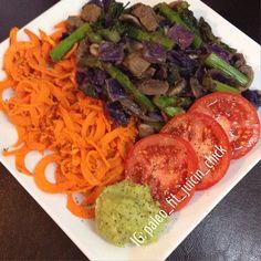 I  had my post workout shake and then this yummy plate of food.  Left over grass fed beef stir fry with spiralized sweet potato, tomatoes and guacamole.  So good. Now I can focus on getting some work done. ✨ I'm sure I'm not the only one who can't focus when they're H-ANGRY?! Lmao  https://www.facebook.com/TeamJERF