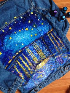 Van Gogh Starry night over the Rhone hand painted denim jacket (! Please read the description ! Painted Denim Jacket, Painted Jeans, Painted Clothes, Hand Painted, Art Van, Denim Art, Diy Clothing, Vincent Van Gogh, Wearable Art