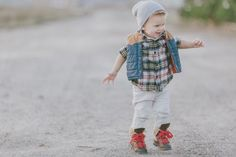 beanie + puffy vest + cool baby shoes
