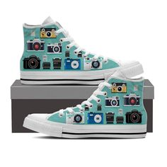 Photographers and photo lovers need our photography camera shoes in their closet. Shop with Groove Bags for one-of-a-kind photography shoes! Converse Outfits, Cheap Converse Shoes, Converse Sneakers, High Top Sneakers, Women's Converse, Custom Converse, White Sneakers, Cute Shoes, Me Too Shoes