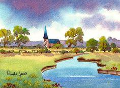 Original Watercolour Windrush River by Pamelajonesartstudio