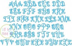 """I2S Curtsy Monogram  Embroidery Font in sizes: 1.0"""", 1.5"""", 2.0"""", 2.5"""" & 3.0"""""""