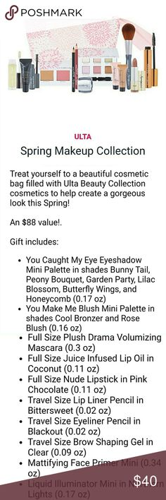 ⭐HP⭐ New Arrival~ ULTA Spring Makeup Cosmetic Bag Treat yourself to a beautiful cosmetic bag filled with Ulta Beauty Collection cosmetics to help create a gorgeous look this Spring!  An $88 value!.  Gift includes: 14 individual items, all brand new, never opened, used, or swatched. Descriptions are listed in pics!  Super cute bag and awesome products!  ⭐HP 4/3/18⭐Best in Make-up Party⭐  Thank you for stopping by my Closet. Please let me know if you have any questions. ♠️GM ULTA Makeup