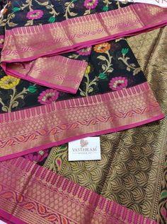 Black And Pink Banarasi Cotton Saree With Flower motif all Over