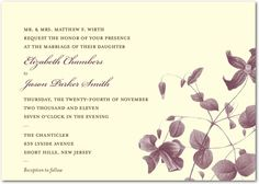 Natural Wildflower - Signature Ecru Wedding Invitations - Petite Alma - Chambord - Purple : Front   weddingpaperdivas.com